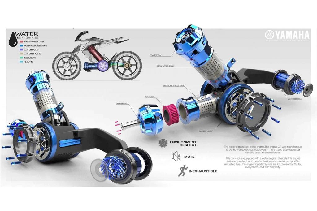 Yamaha XT500 H2O – um novo conceito de moto movida a água!